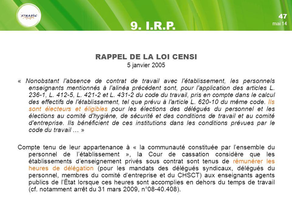 9. I.R.P. RAPPEL DE LA LOI CENSI 47