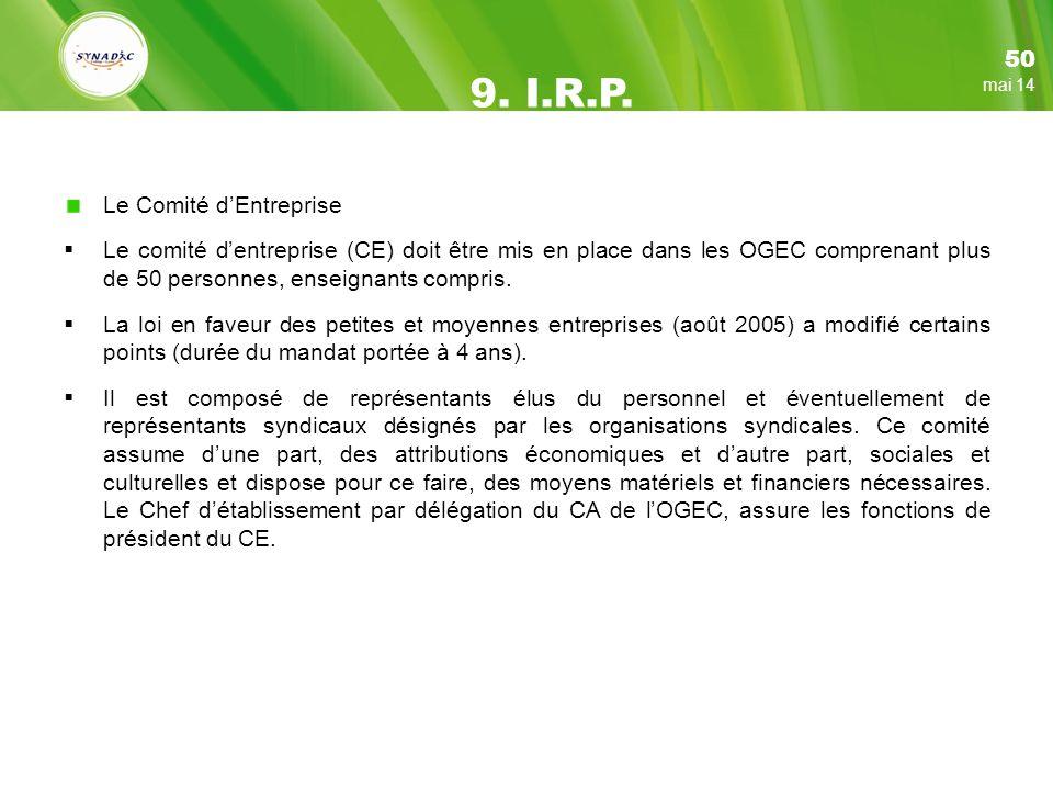 9. I.R.P. 50 Le Comité d'Entreprise