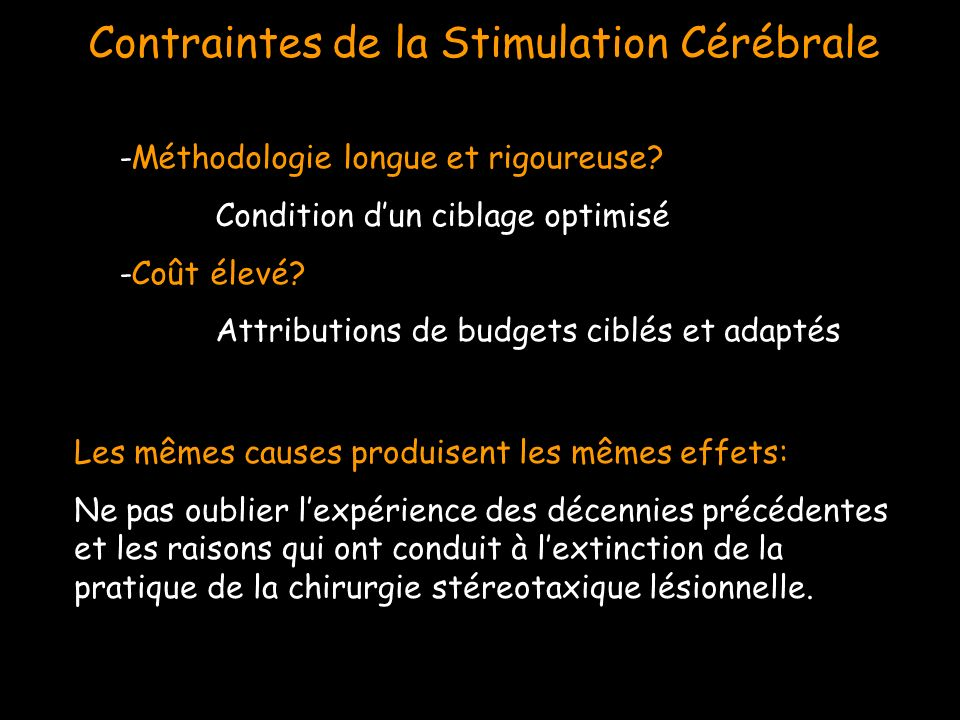 Contraintes de la Stimulation Cérébrale