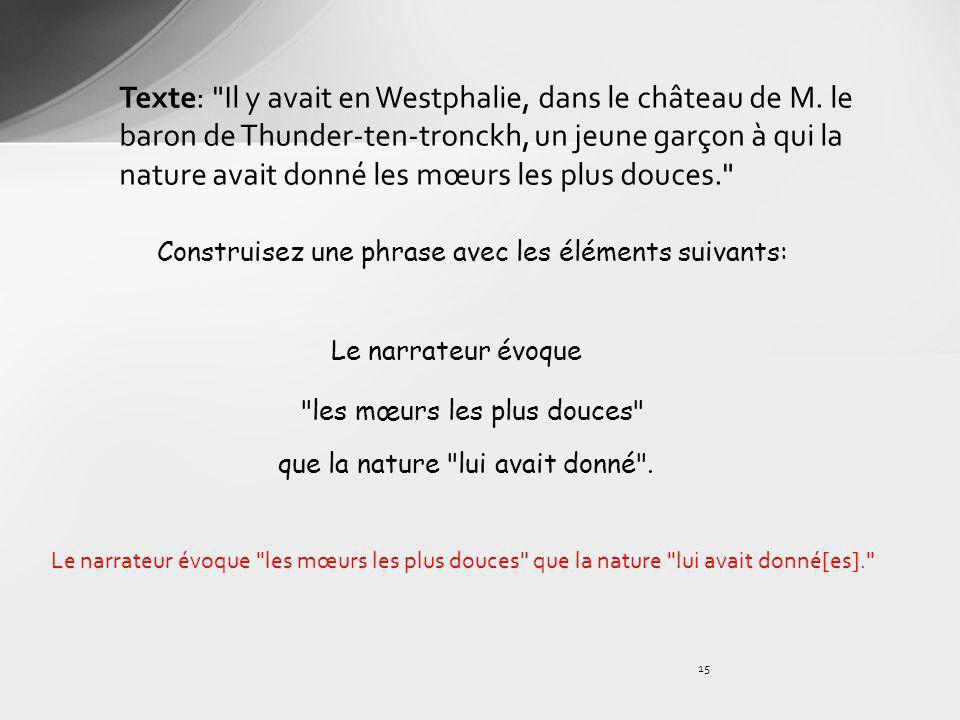 Texte: Il y avait en Westphalie, dans le château de M