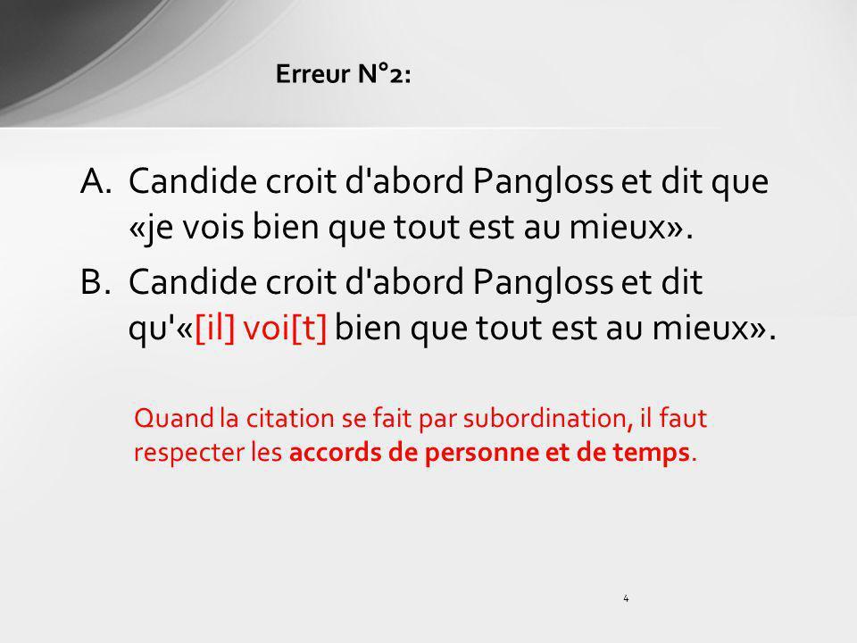 Erreur N°2: Candide croit d abord Pangloss et dit que «je vois bien que tout est au mieux».