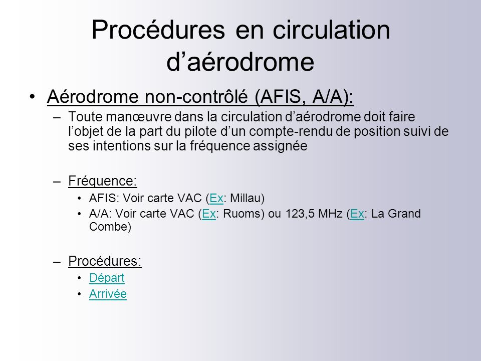 Procédures en circulation d'aérodrome
