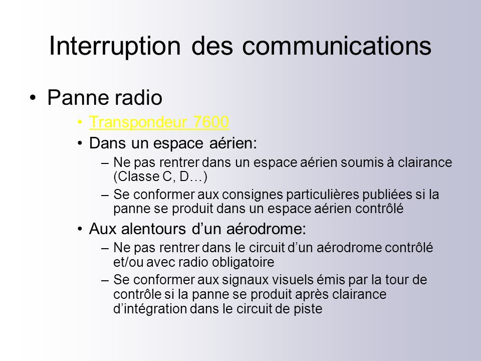 Interruption des communications