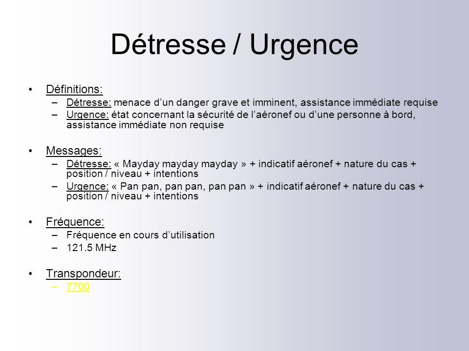 Détresse / Urgence Définitions: Messages: Fréquence: Transpondeur: