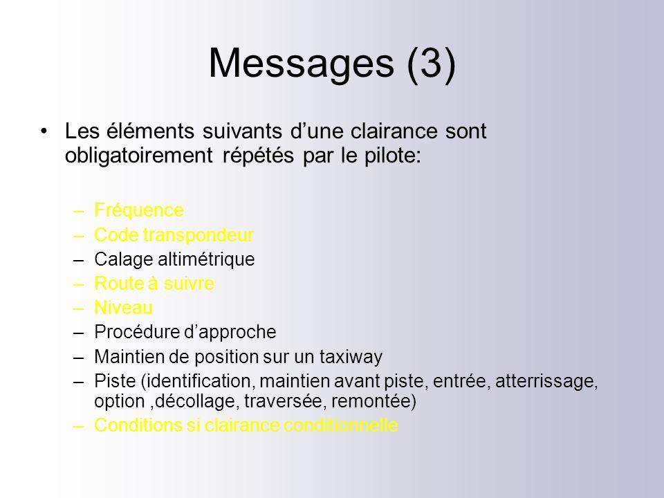 Messages (3) Les éléments suivants d'une clairance sont obligatoirement répétés par le pilote: Fréquence.