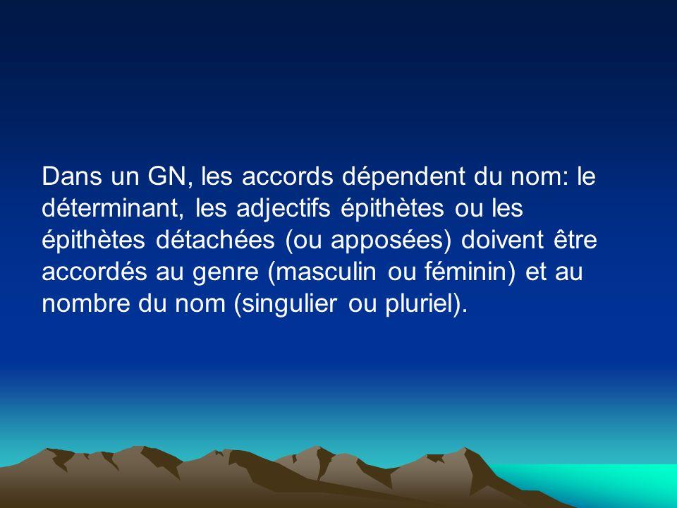 Dans un GN, les accords dépendent du nom: le déterminant, les adjectifs épithètes ou les épithètes détachées (ou apposées) doivent être accordés au genre (masculin ou féminin) et au nombre du nom (singulier ou pluriel).