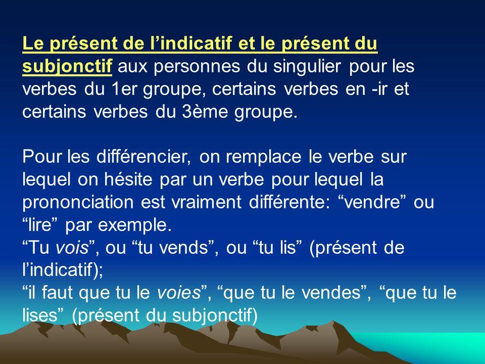 Le présent de l'indicatif et le présent du subjonctif aux personnes du singulier pour les verbes du 1er groupe, certains verbes en -ir et certains verbes du 3ème groupe.