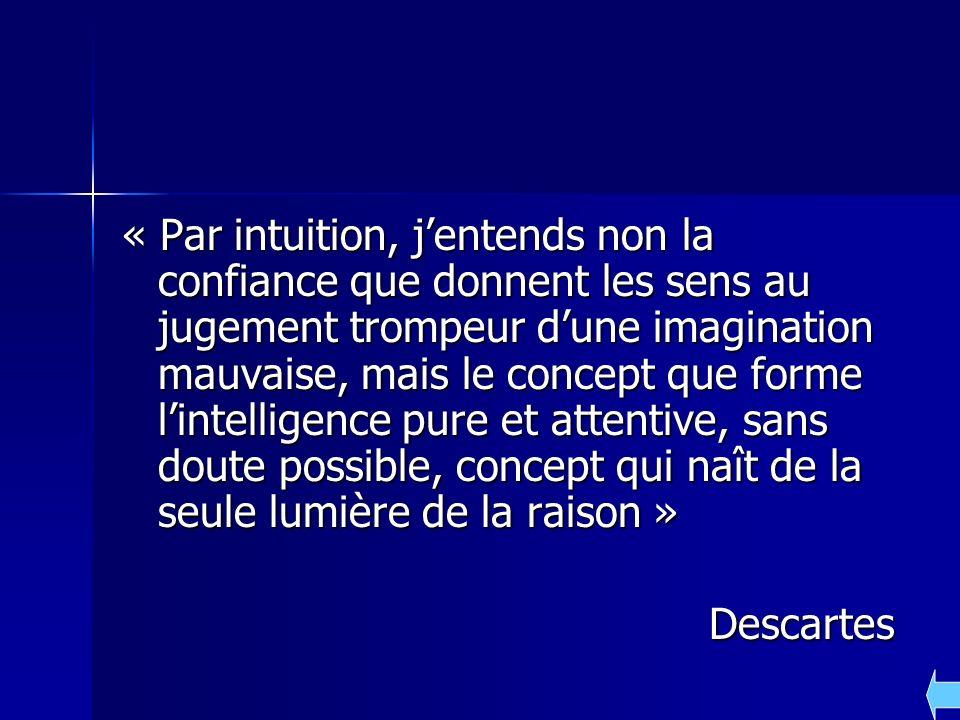 « Par intuition, j'entends non la confiance que donnent les sens au jugement trompeur d'une imagination mauvaise, mais le concept que forme l'intelligence pure et attentive, sans doute possible, concept qui naît de la seule lumière de la raison »