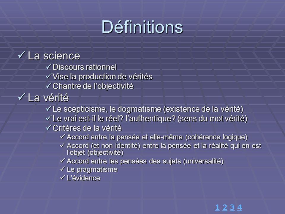 Définitions La science La vérité Discours rationnel