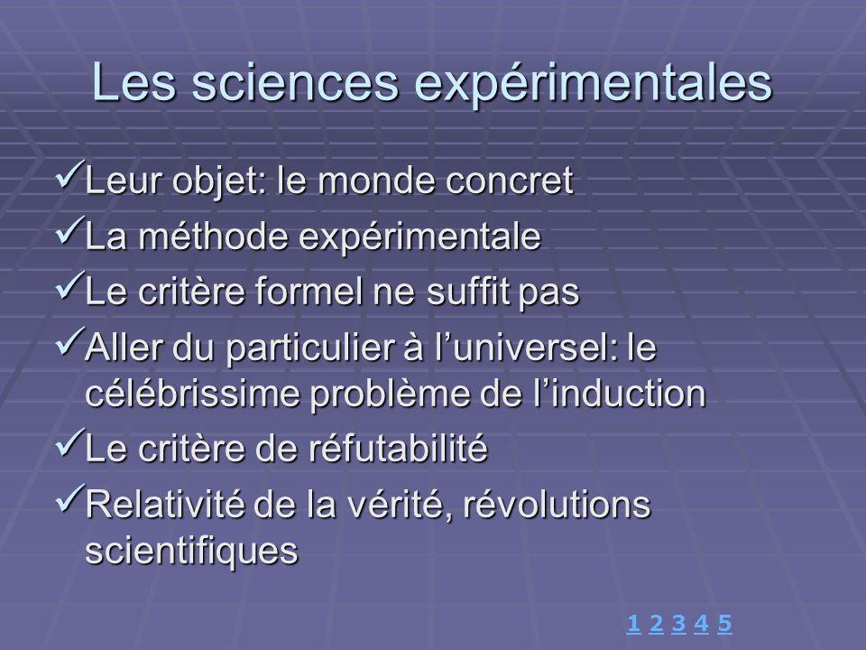 Les sciences expérimentales