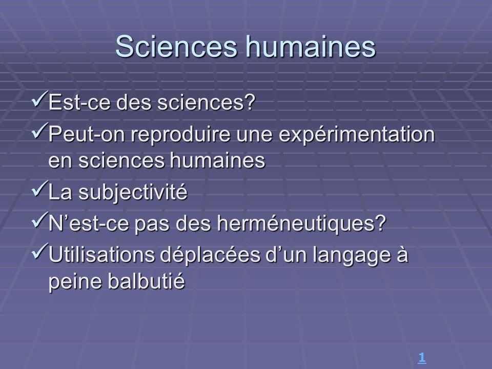 Sciences humaines Est-ce des sciences
