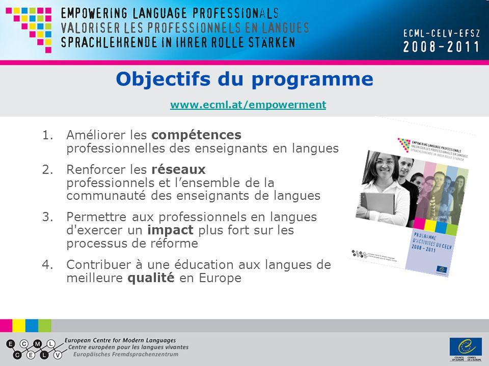 Objectifs du programme www.ecml.at/empowerment