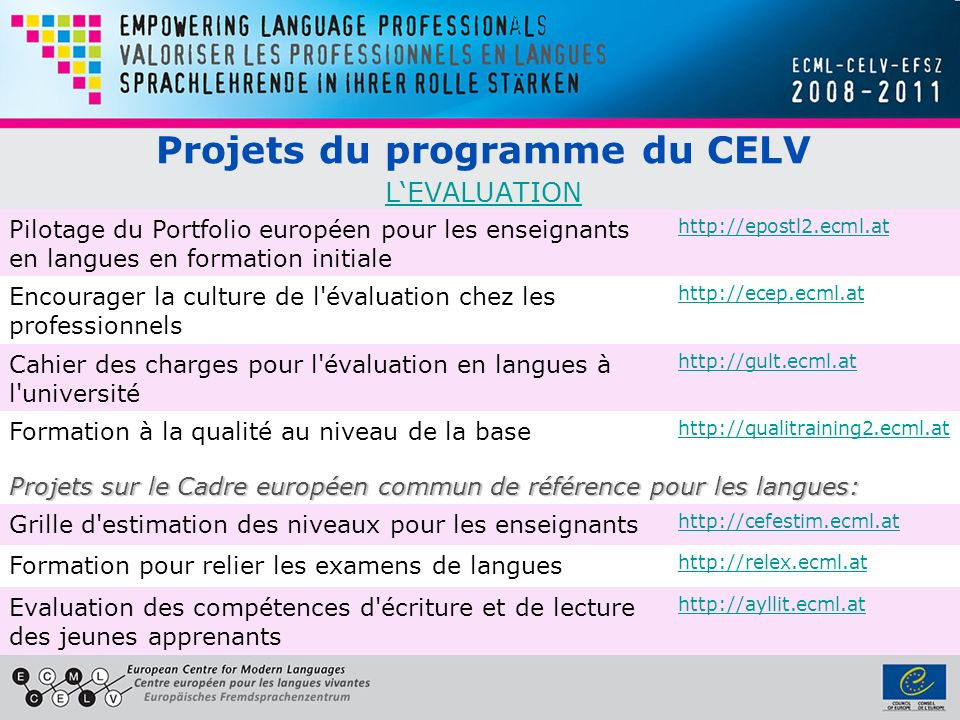 Projets du programme du CELV L'EVALUATION