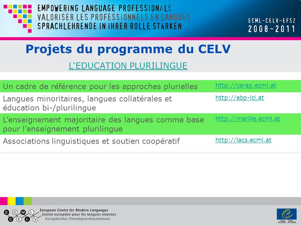 Projets du programme du CELV L'EDUCATION PLURILINGUE
