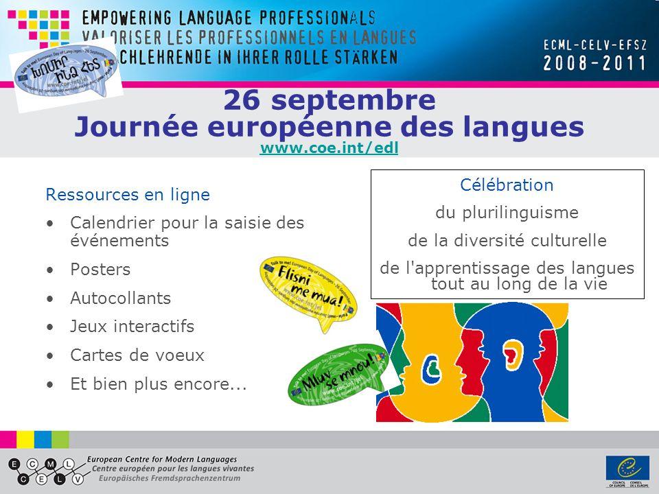 26 septembre Journée européenne des langues www.coe.int/edl