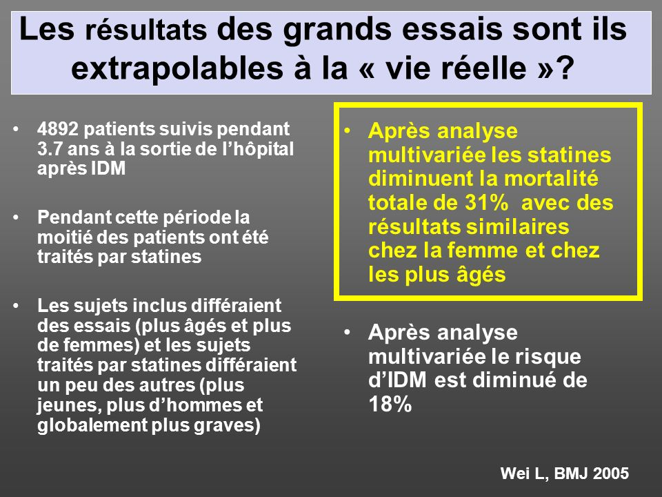 Les résultats des grands essais sont ils extrapolables à la « vie réelle »