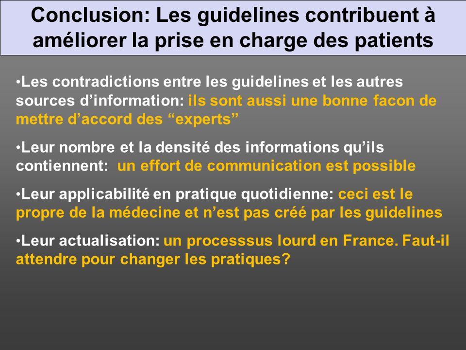 Conclusion: Les guidelines contribuent à améliorer la prise en charge des patients