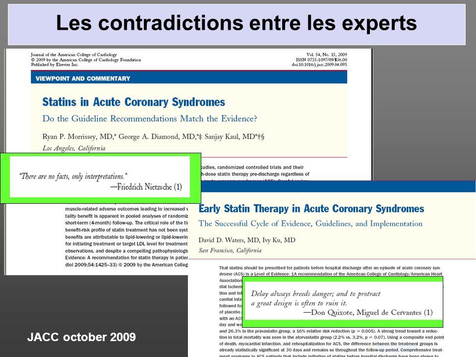 Les contradictions entre les experts