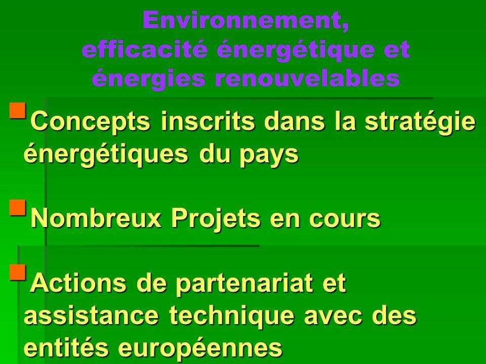 Environnement, efficacité énergétique et énergies renouvelables
