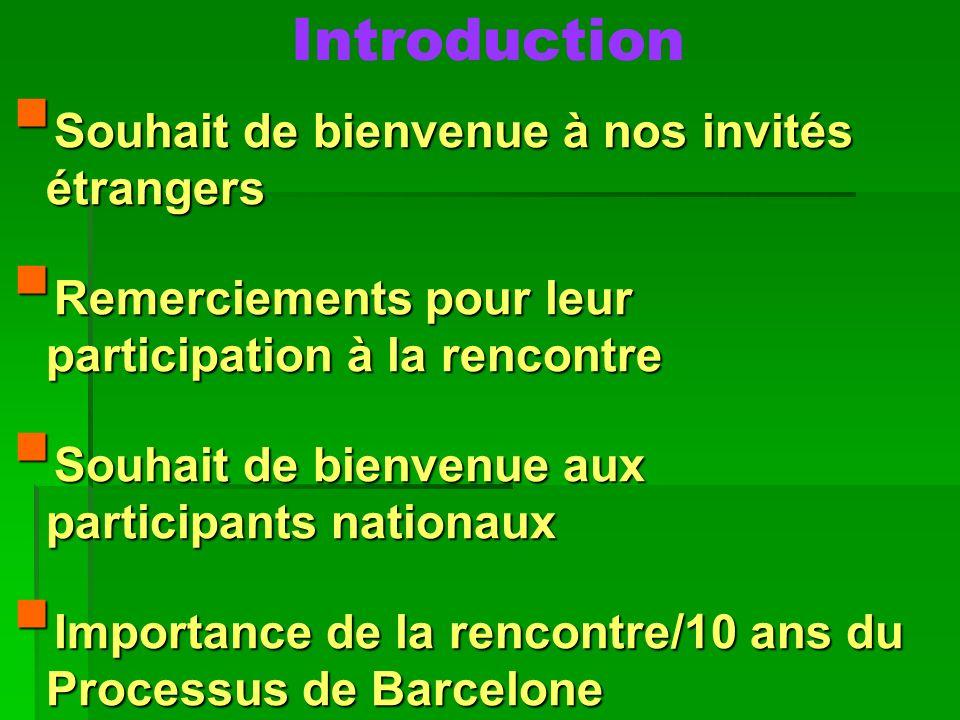 Introduction Souhait de bienvenue à nos invités étrangers