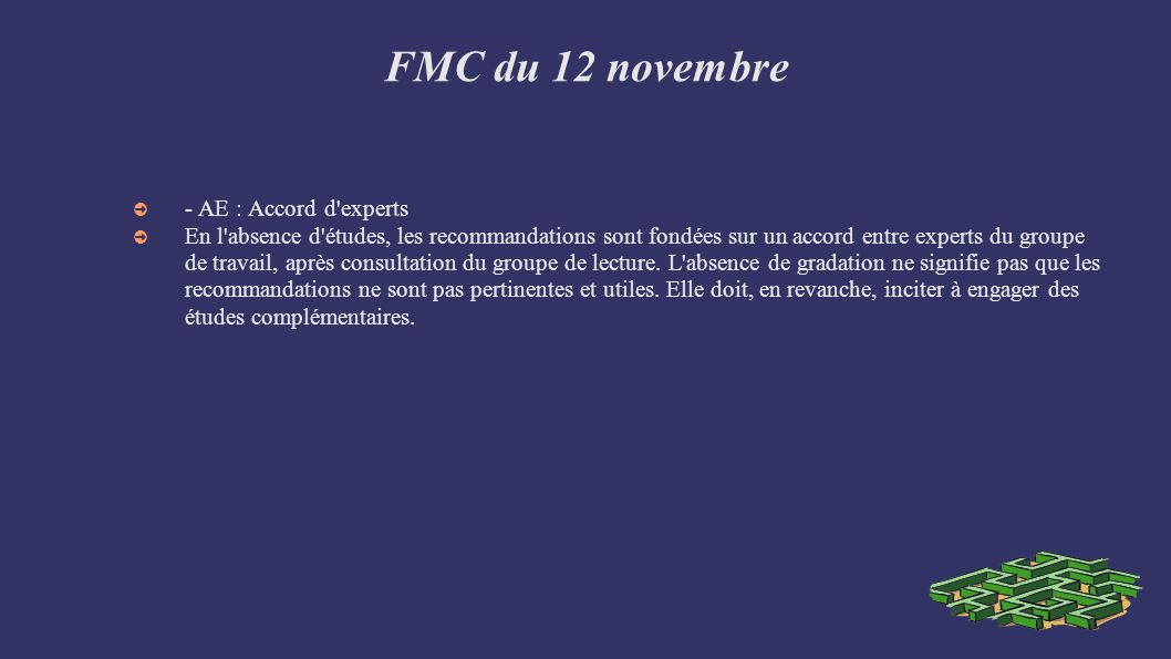 FMC du 12 novembre - AE : Accord d experts