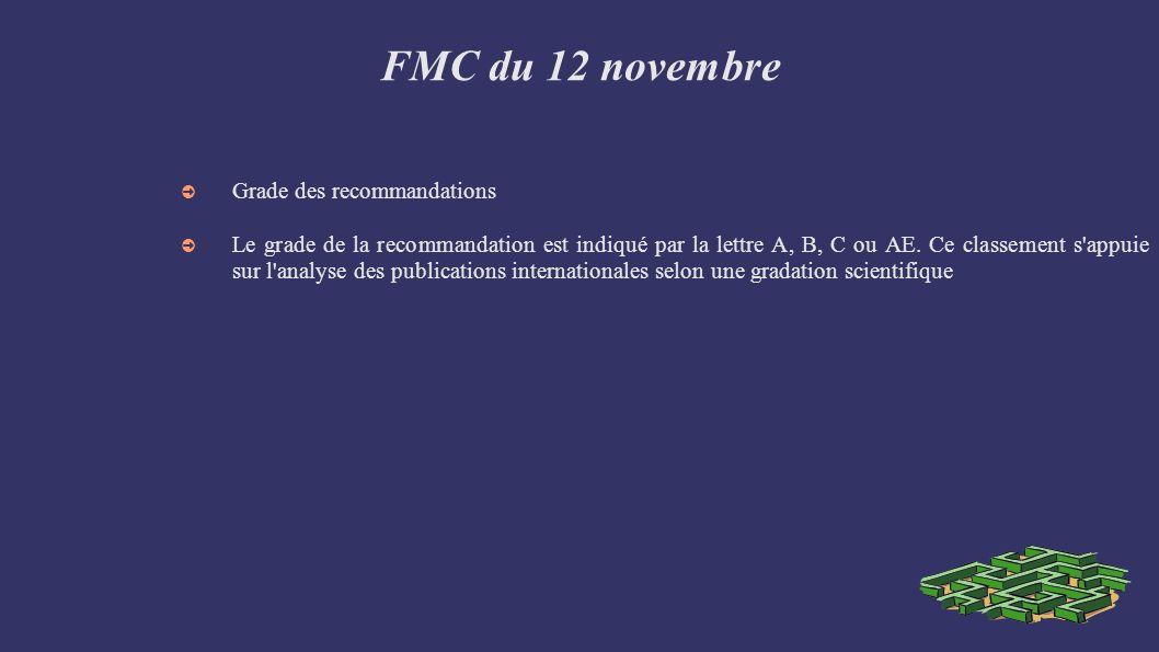 FMC du 12 novembre Grade des recommandations