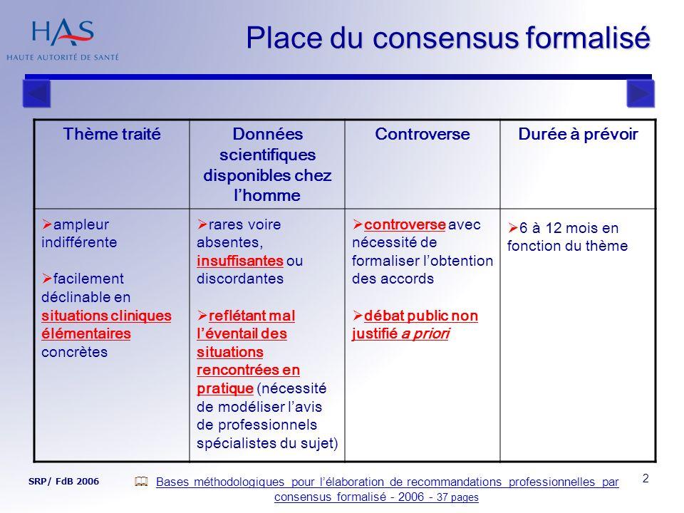 Place du consensus formalisé