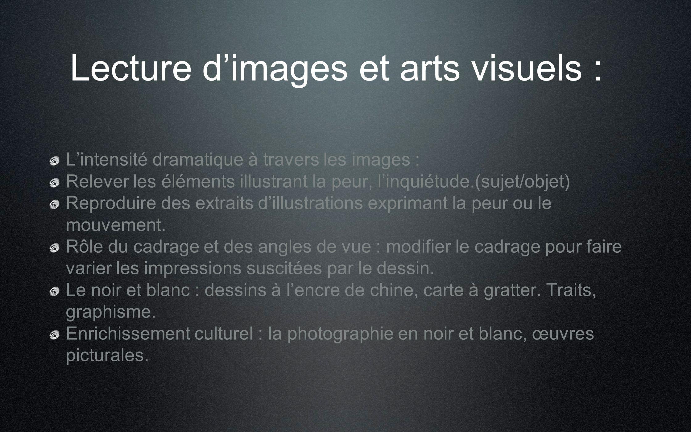 Lecture d'images et arts visuels :