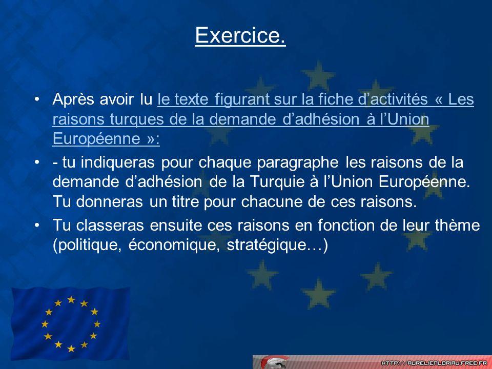 Exercice. Après avoir lu le texte figurant sur la fiche d'activités « Les raisons turques de la demande d'adhésion à l'Union Européenne »: