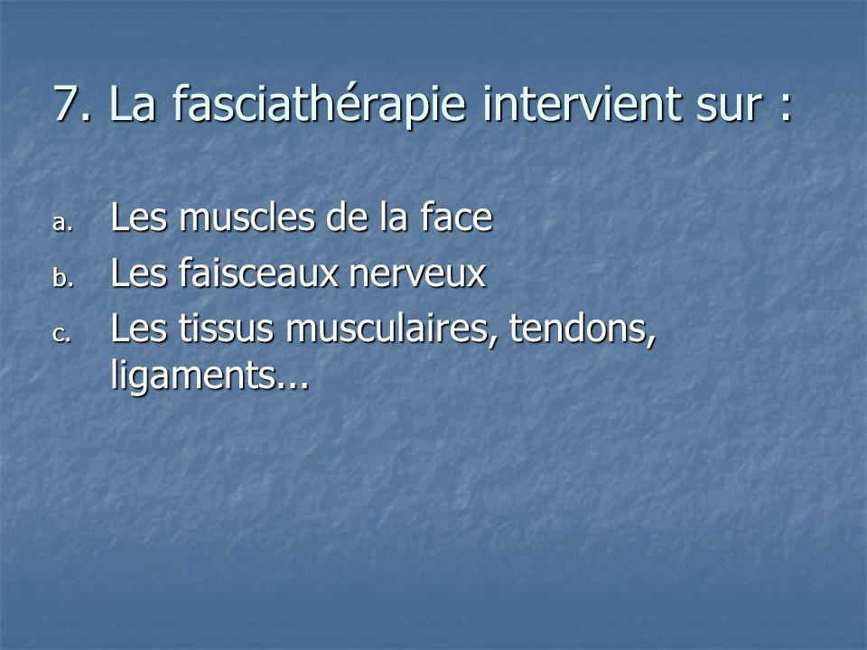 7. La fasciathérapie intervient sur :