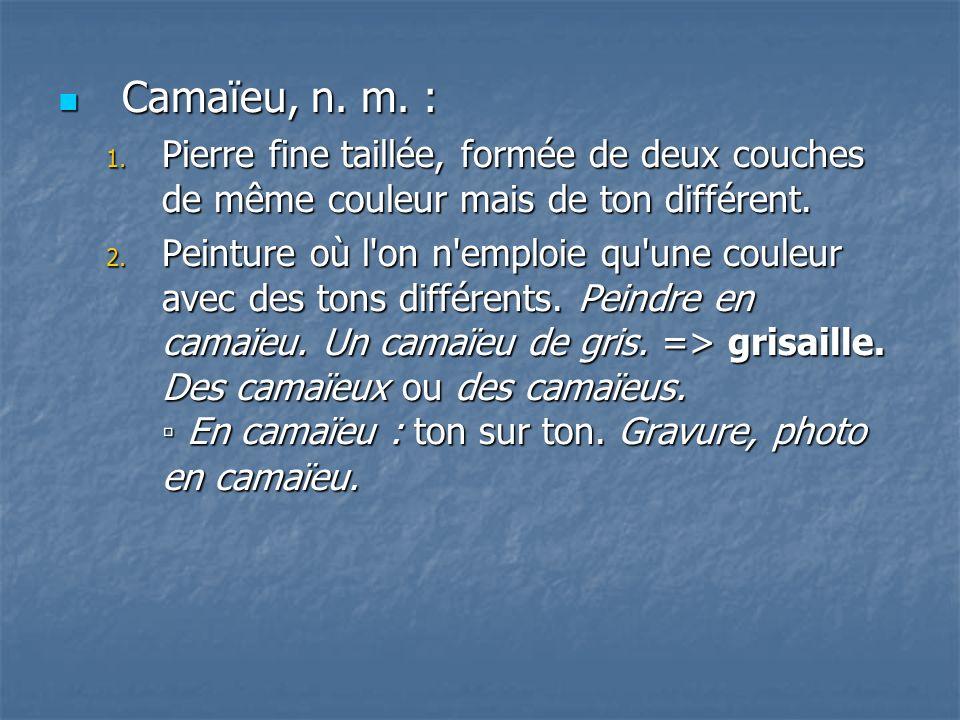 Camaïeu, n. m. : Pierre fine taillée, formée de deux couches de même couleur mais de ton différent.