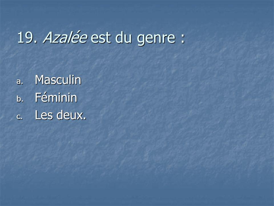 19. Azalée est du genre : Masculin Féminin Les deux.