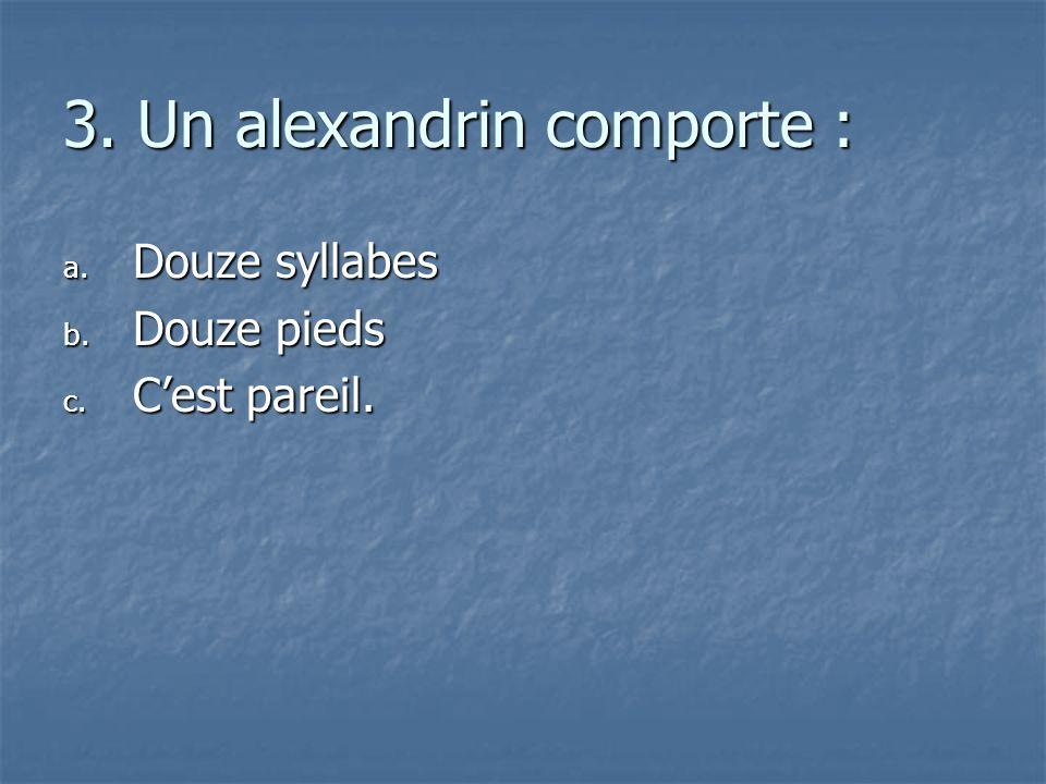 3. Un alexandrin comporte :