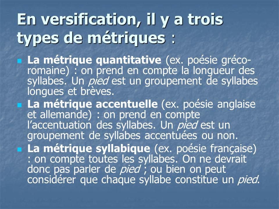 En versification, il y a trois types de métriques :