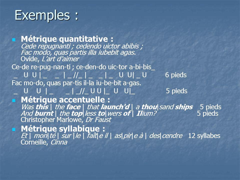 Exemples : Métrique quantitative : Cede repugnanti ; cedendo uictor abibis ; Fac modo, quas partis illa iubebit agas. Ovide, L'art d'aimer.