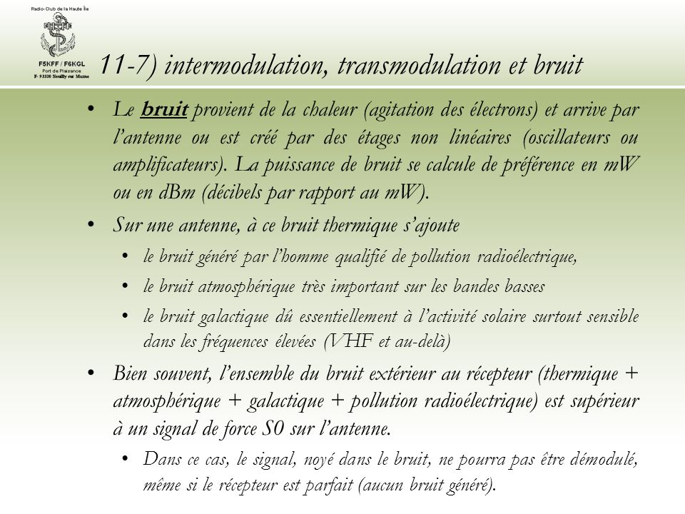 11-7) intermodulation, transmodulation et bruit
