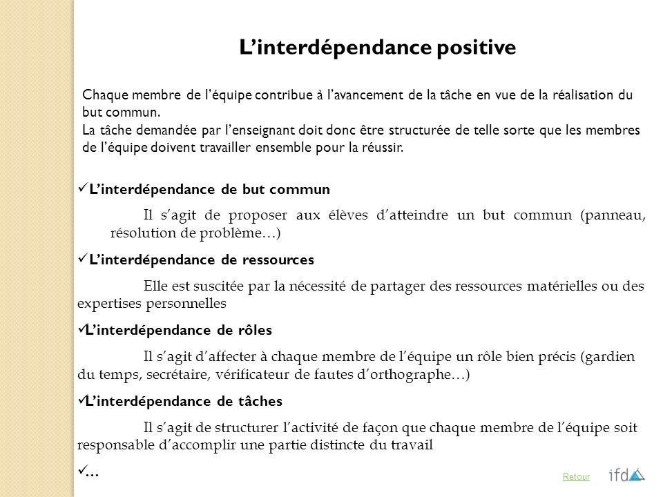 L'interdépendance positive