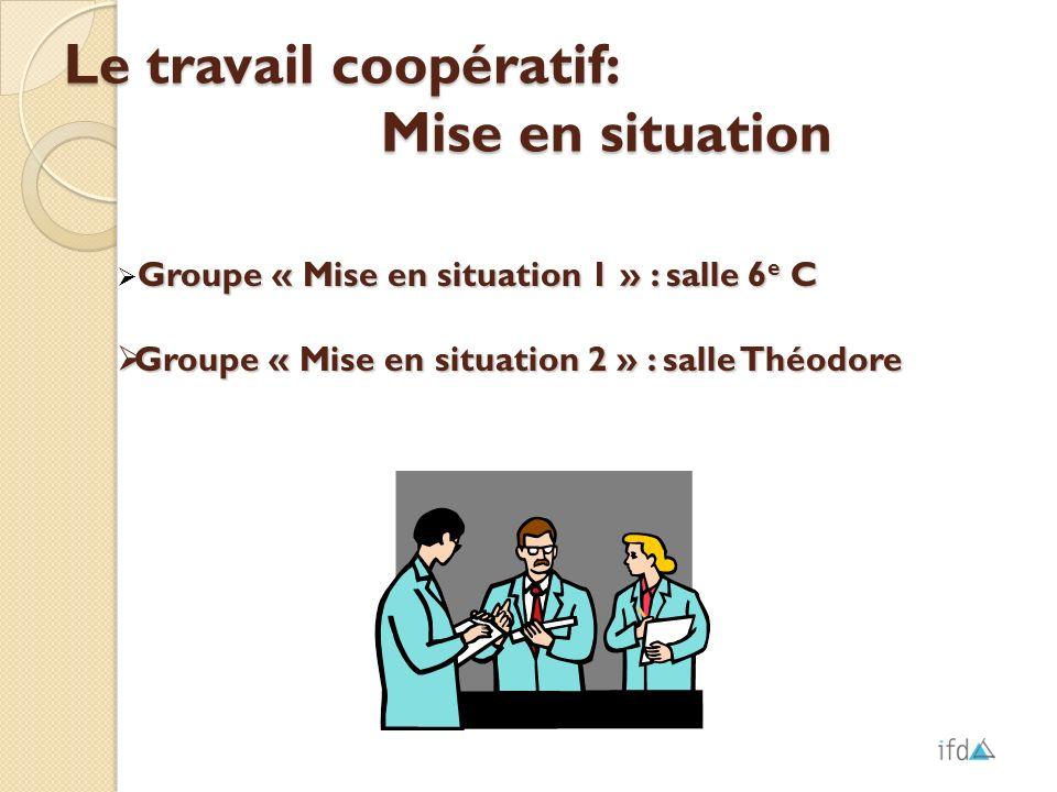 Le travail coopératif: Mise en situation