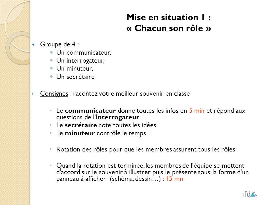 Mise en situation 1 : « Chacun son rôle » Groupe de 4 :