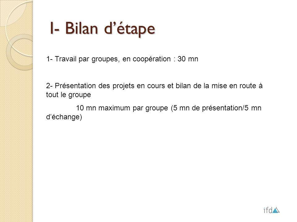 I- Bilan d'étape 1- Travail par groupes, en coopération : 30 mn