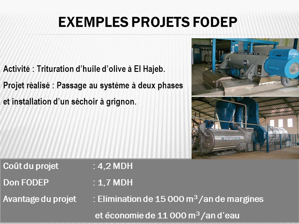 Exemples projets FODEP