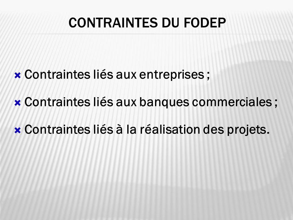 CONTRAINTES DU fodep Contraintes liés aux entreprises ;