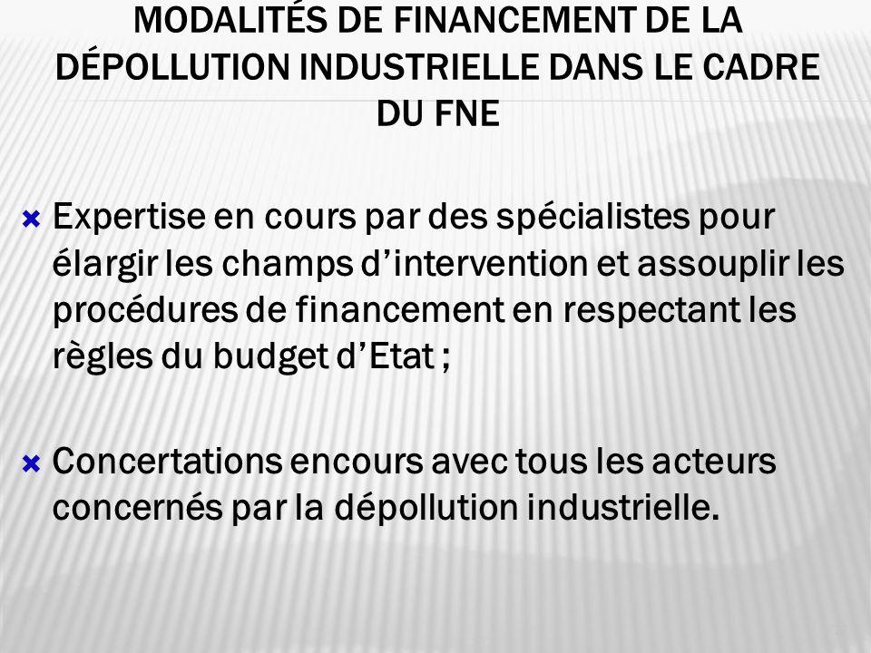 Modalités de Financement de la dépollution industrielle dans le cadre du fne