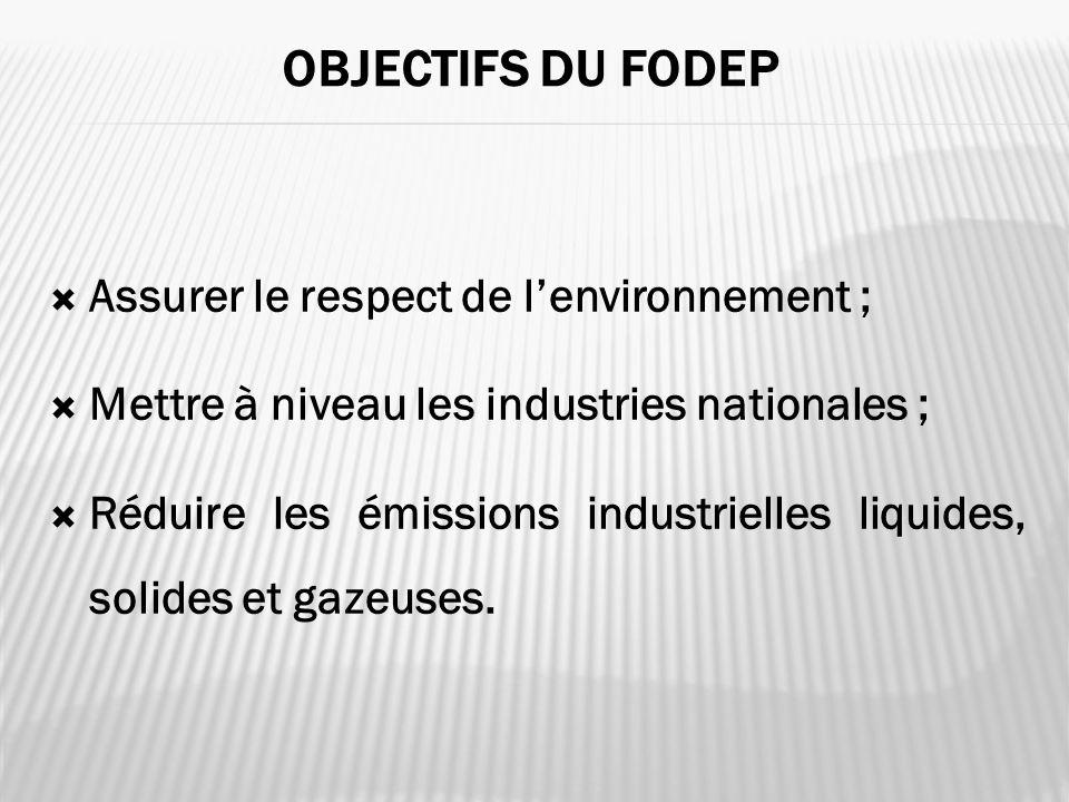 Objectifs du FODEP Assurer le respect de l'environnement ;