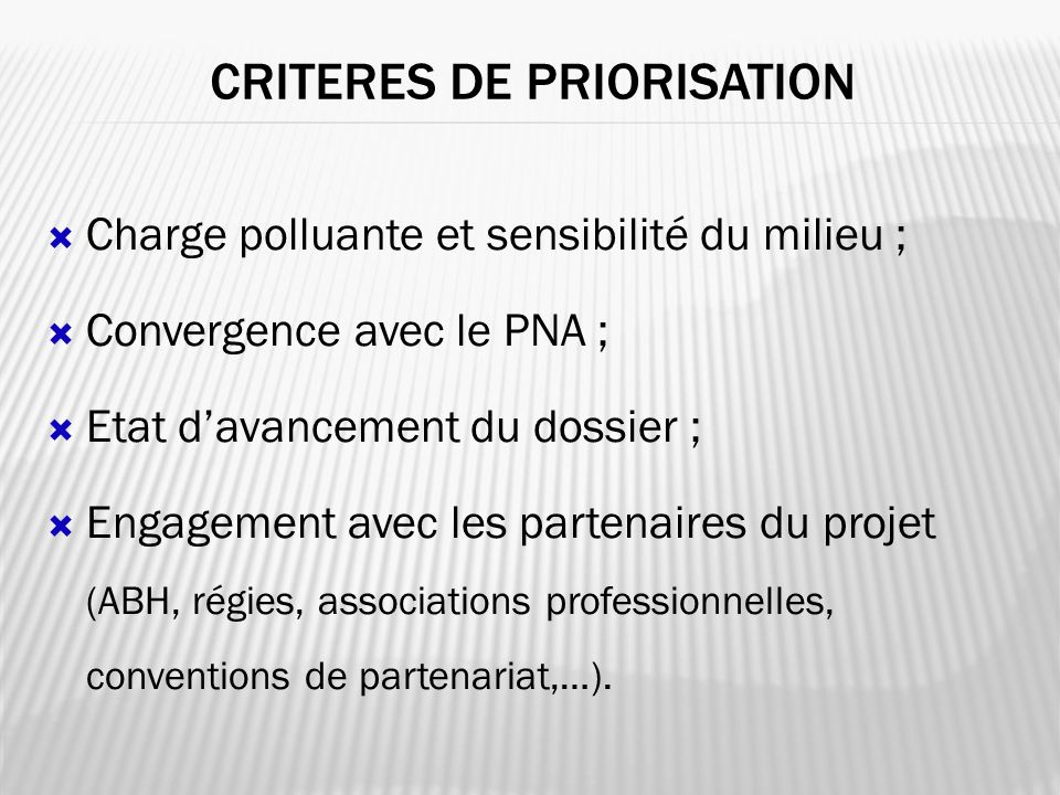 CRITERES DE PRIORISATION