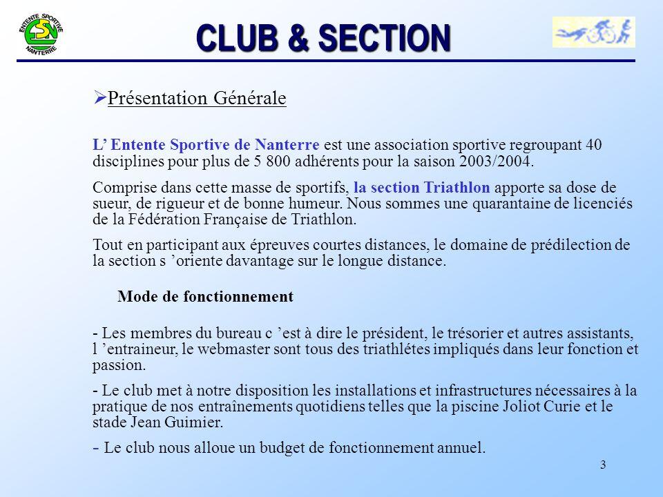 CLUB & SECTION Présentation Générale