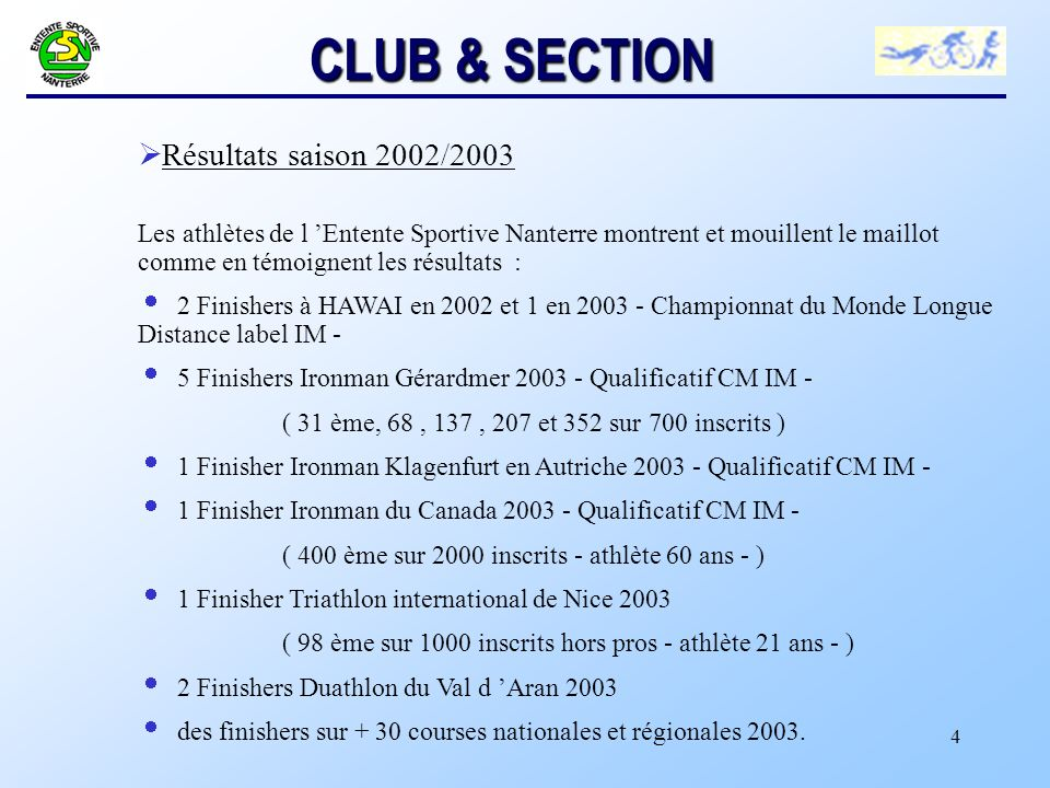 CLUB & SECTION Résultats saison 2002/2003