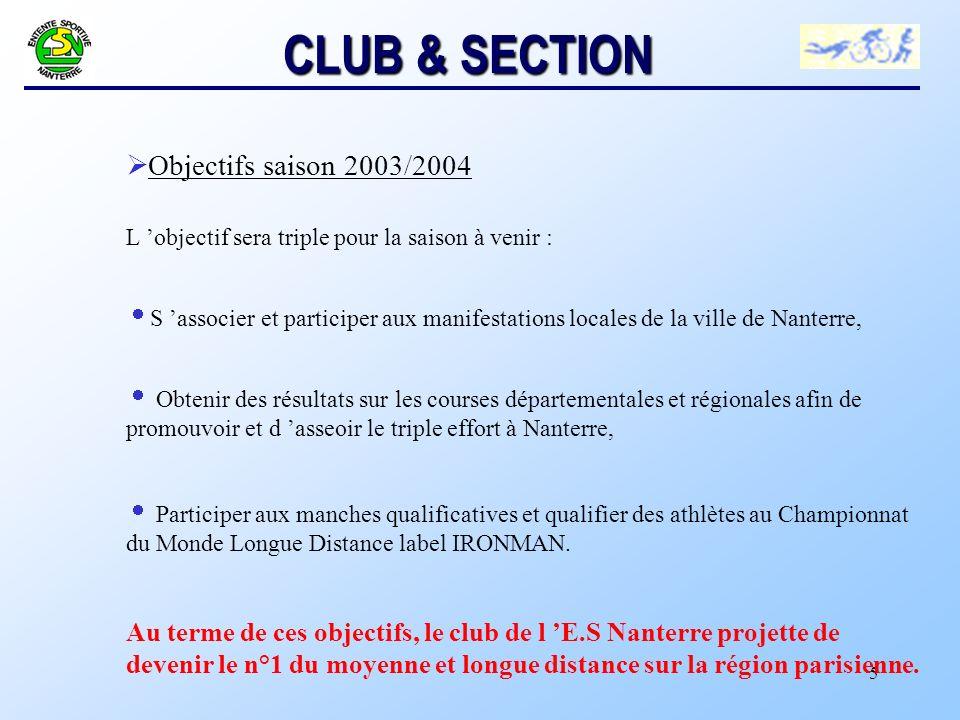 CLUB & SECTION Objectifs saison 2003/2004