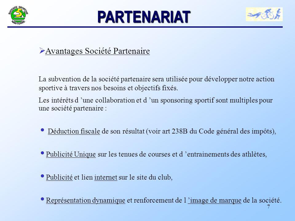PARTENARIAT Avantages Société Partenaire