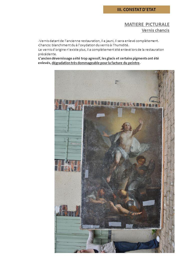 MATIERE PICTURALE III. CONSTAT D'ETAT Vernis chancis